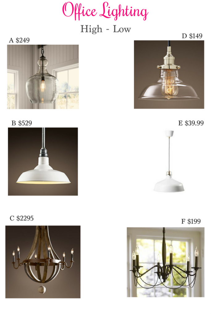 Office Lighting High Low, office lighting, pottery barn lighting, restoration hardware lighting, ikea lighting