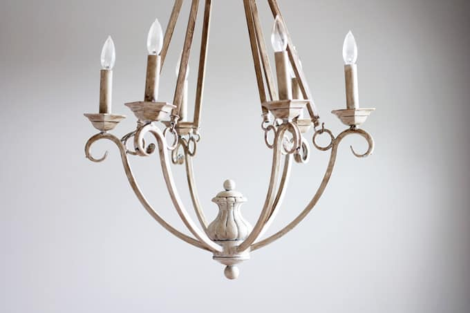 Chandelier painted with chalk paint in dining room