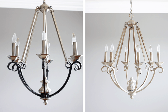 DIY chalk paint chandelier before and after