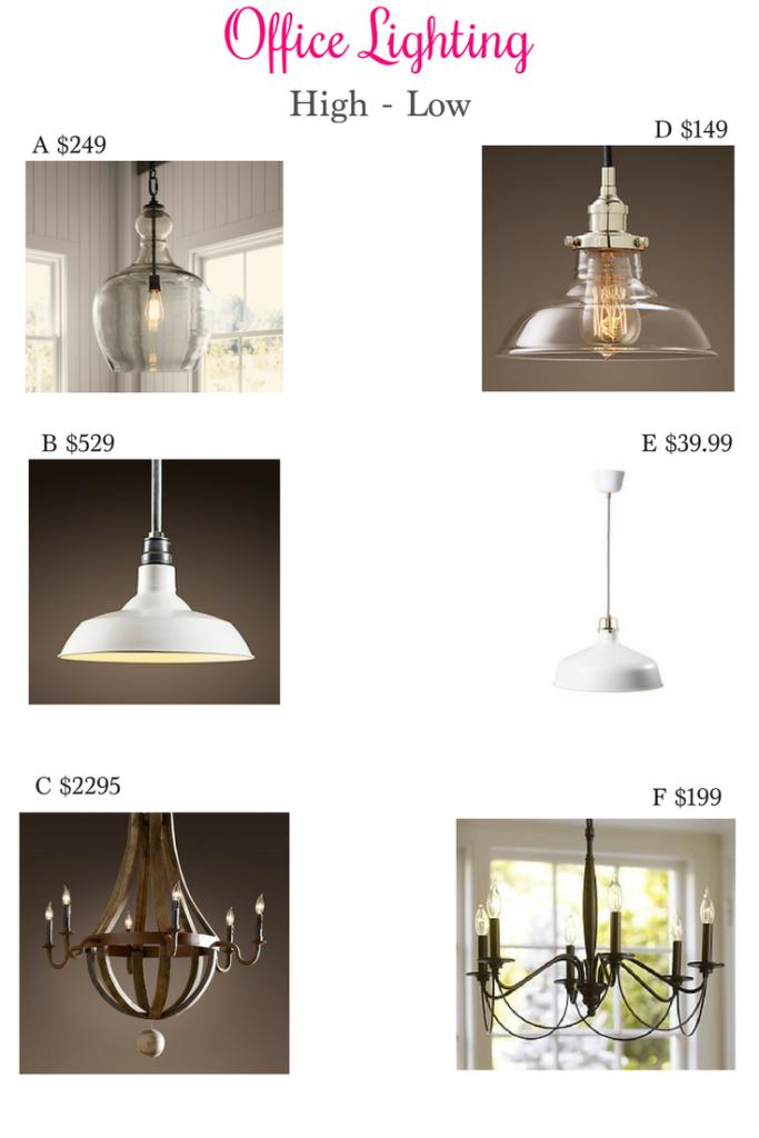 Office Lighting High Low, office lighting, pottery barn lighting, restoration hardware lighting, ikea lighting