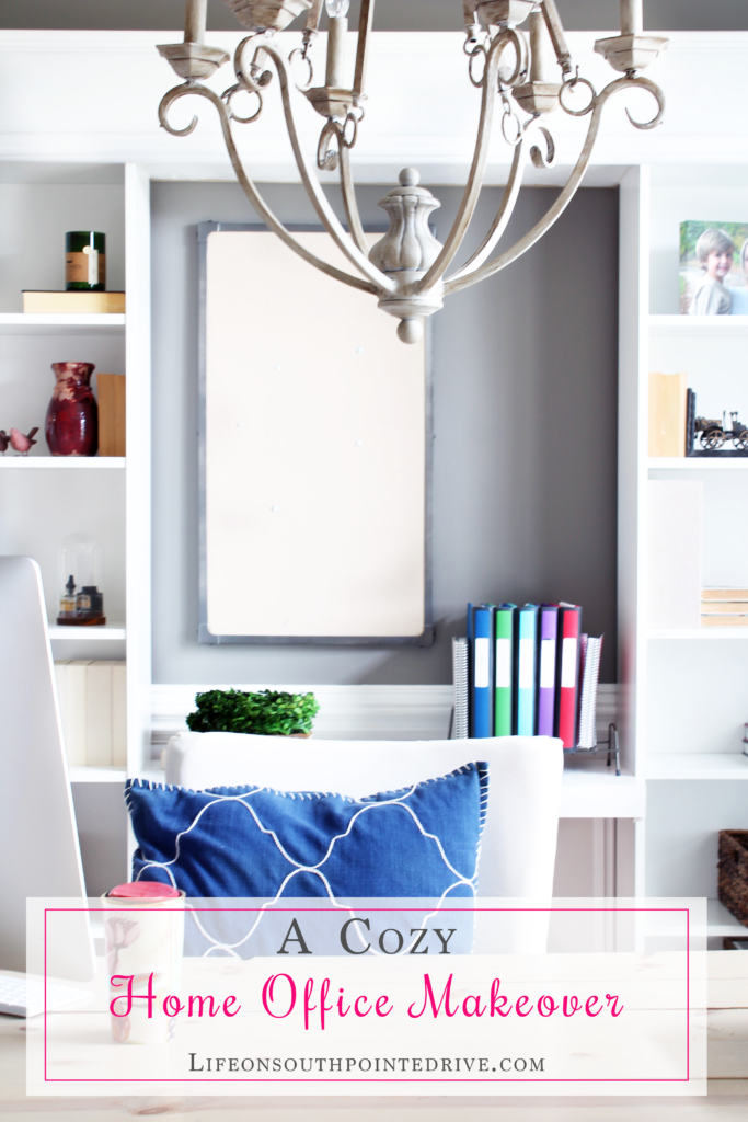 A Cozy Home Office Makeover, home office makeover, home office, one room challenge, organized home office