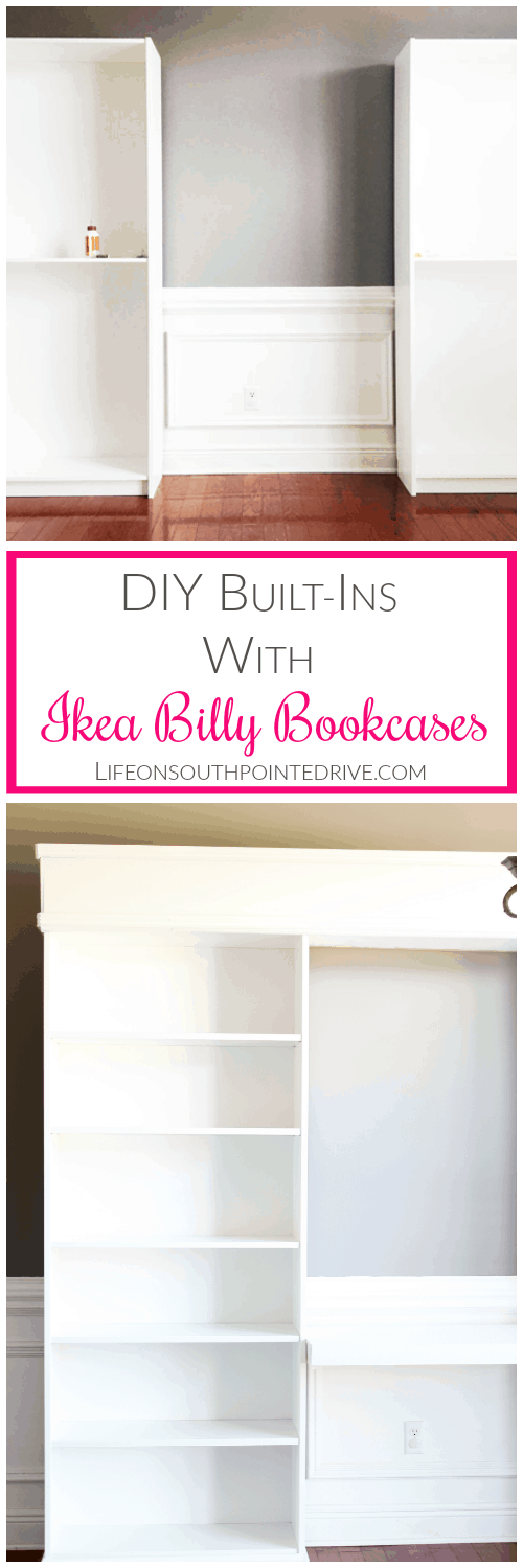 Home - DIY Built-ins with Ikea Billy Bookcases, DIY Built-ins, Built-ins, Ikea Hack, Ikea Billy Bookcase Hack, DIY Built-ins Billy Bookcase, DIY Ikea Built-ins, Home Office Built-ins, DIY Built-ins