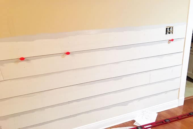 Using spacers on DIY shiplap wall