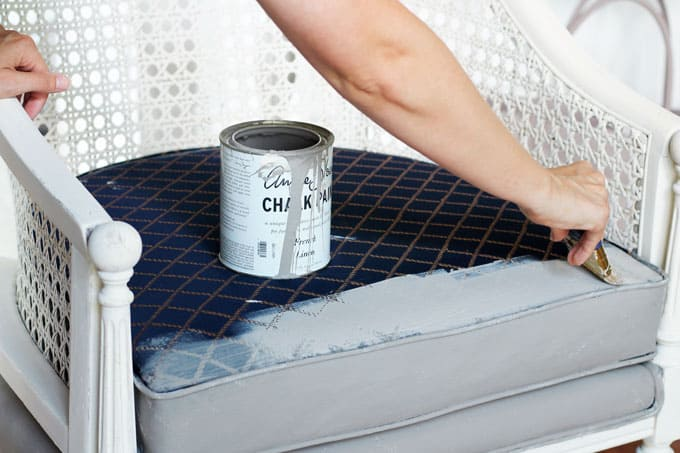 DIY- How to Paint an Upholstered Chair, Vintage Chair DIY, DIY Chalk Painted Chair, DIY Upholstered Chair, Caneback Chair, DIY, Chalk Paint, Chalk Paint Projects