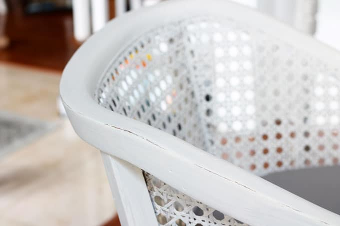 DIY- How to Paint an Upholstered Chair, Vintage Chair DIY, DIY Chalk Painted Chair, DIY Upholstered Chair, Caneback Chair, DIY, Chalk Paint, Chalk Paint Projects. Aging a Vintage Chair