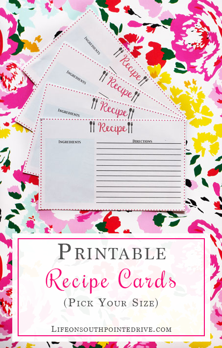 Organization - Free Printable Recipe Cards, recipe cards, recipe card printable, free printables, recipe organization, meal planning