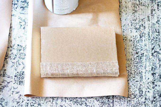 burlap wrapped books, DIY vintage books