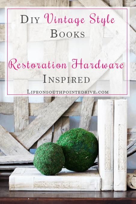 DIY Vintage Books Restoration Hardware Inspired, Restoration Hardware books, vintage books, DIY vintage books, DIY Restoration Hardware Books