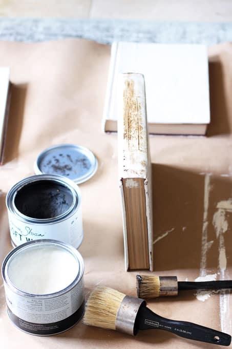 Dark-Wax-on-Vintage-Books, Aging-Old-Books-with-Chalk-Paint, DIY Vintage Books Restoration Hardware Inspired, Restoration Hardware books, vintage books, DIY vintage books, DIY Restoration Hardware Books