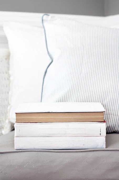 Aging-Old-Books-with-Chalk-Paint, DIY Vintage Books Restoration Hardware Inspired, Restoration Hardware books, vintage books, DIY vintage books, DIY Restoration Hardware Books