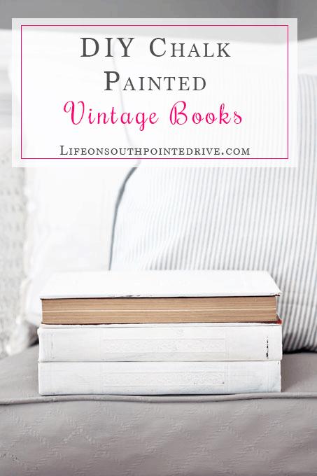 How-to-Chalk-Paint-Vintage-Books, DIY Vintage Books Restoration Hardware Inspired, Restoration Hardware books, vintage books, DIY vintage books, DIY Restoration Hardware Books