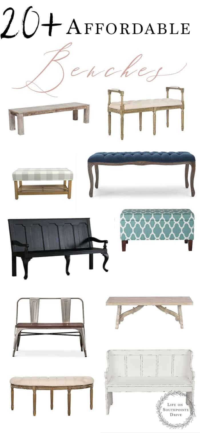 This list of more than 20 affordable benches is amazing! So many beautiful ideas that won't break the bank and will still look amazing in your home! affordable benches, entryway benches #affordabledecor #entrywayideas