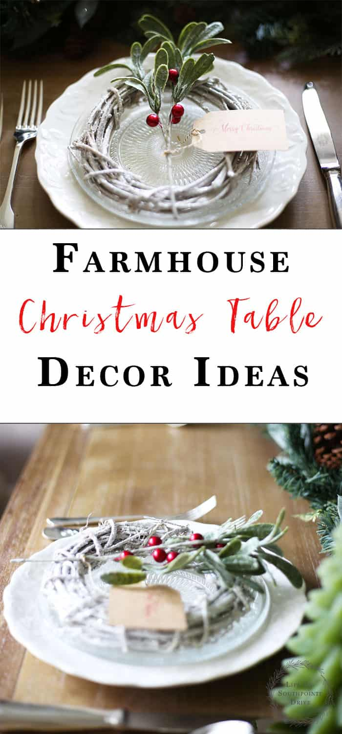 Farmhouse Christmas Decor | With sprigs of Holly and lots of green this Farmhouse inspired Christmas table will make your guests feel right at home! #christmas #christmasdecor #farmhousedecor #farmhousechristmas