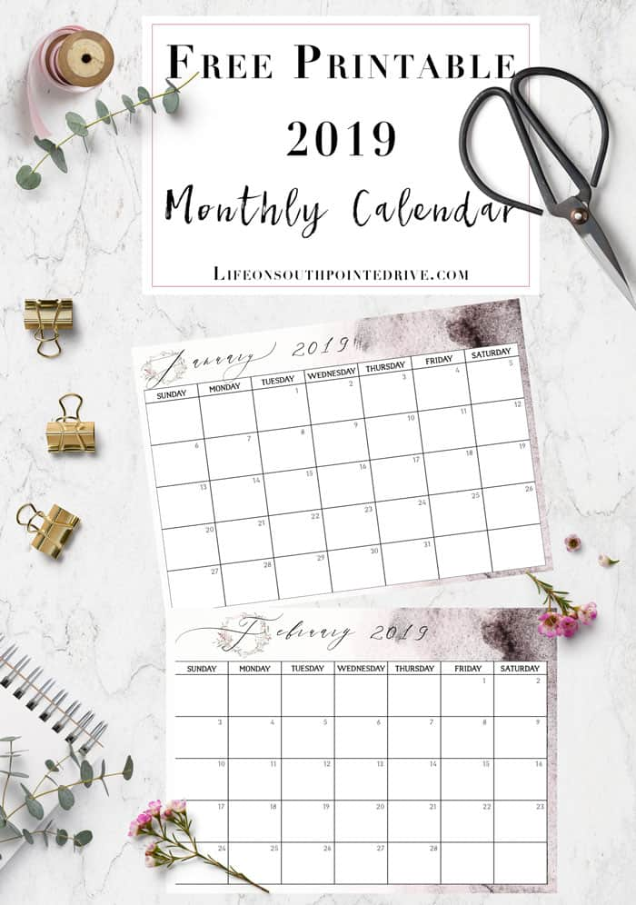 graphic about Printable Dates named Totally free Printable 2019 Calendar - Daily life upon Southpointe Commitment