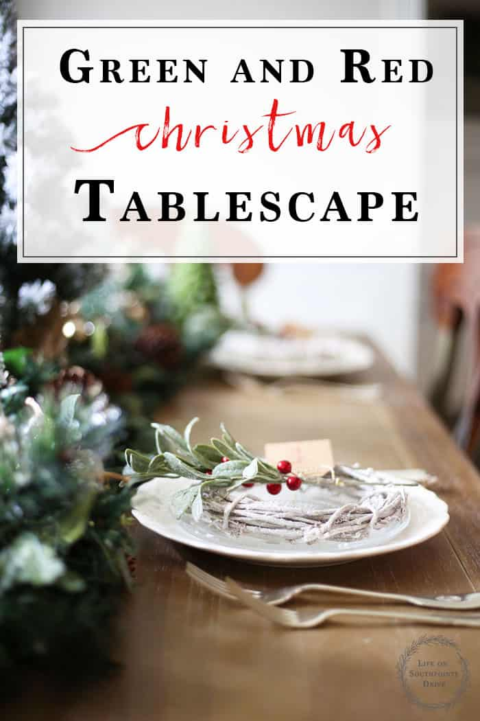Christmas Tablescape | With lots of green, pops of red, Holly sprigs, and flocked trees, this Christmas Table is ready to inspire! Welcome your guests with these easy DIY Place Cards. #christmas #christmasdecor #christmastabledecor #christmasdecorating #christmastablescape