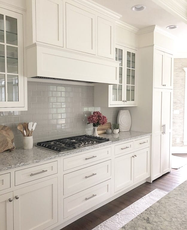 Kitchen Cabinets painted Benjamin Moore White Dove